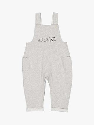 Polarn O. Pyret Baby Organic Cotton Farm Animal Dungarees, Grey