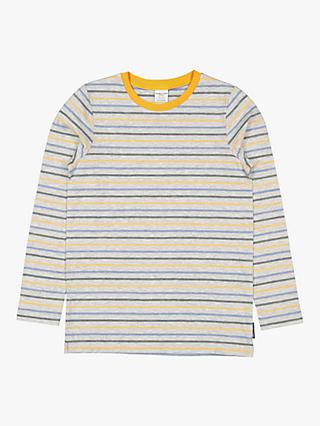 Polarn O. Pyret Children's GOTS Organic Cotton Stripe Top, Grey