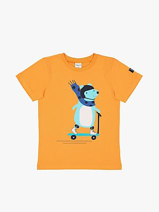 Polarn O. Pyret Children's GOTS Organic Cotton Graphic Print T-Shirt, Orange