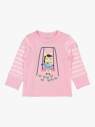 Polarn O. Pyret Baby Stripe Applique Top, Pink