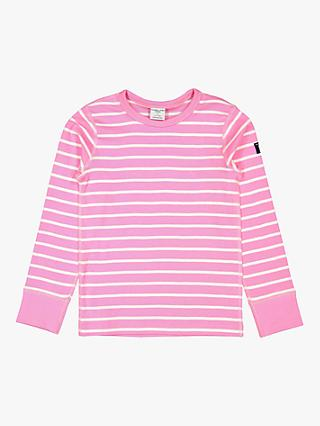 Polarn O. Pyret Children's GOTS Organic Cotton Stripe Long Sleeve Top, Pink