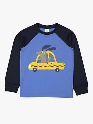 Polarn O. Pyret Children's GOTS Organic Cotton Dog Taxi Top, Blue