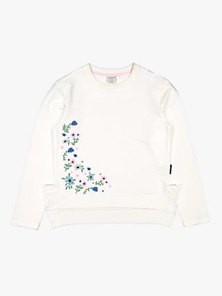 Polarn O. Pyret Children's Floral Sweatshirt, White