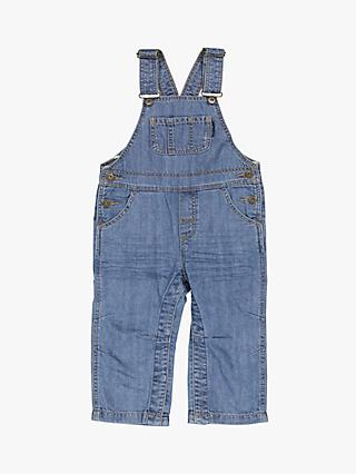 Polarn O. Pyret Children's Cotton Denim Dungarees, Blue