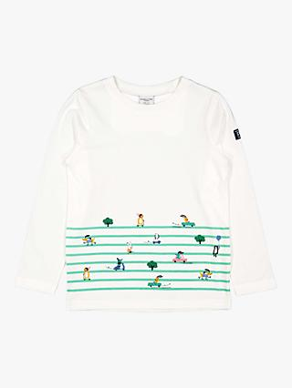 Polarn O. Pyret Children's GOTS Organic Cotton Stripe Animal Top, White/Multi