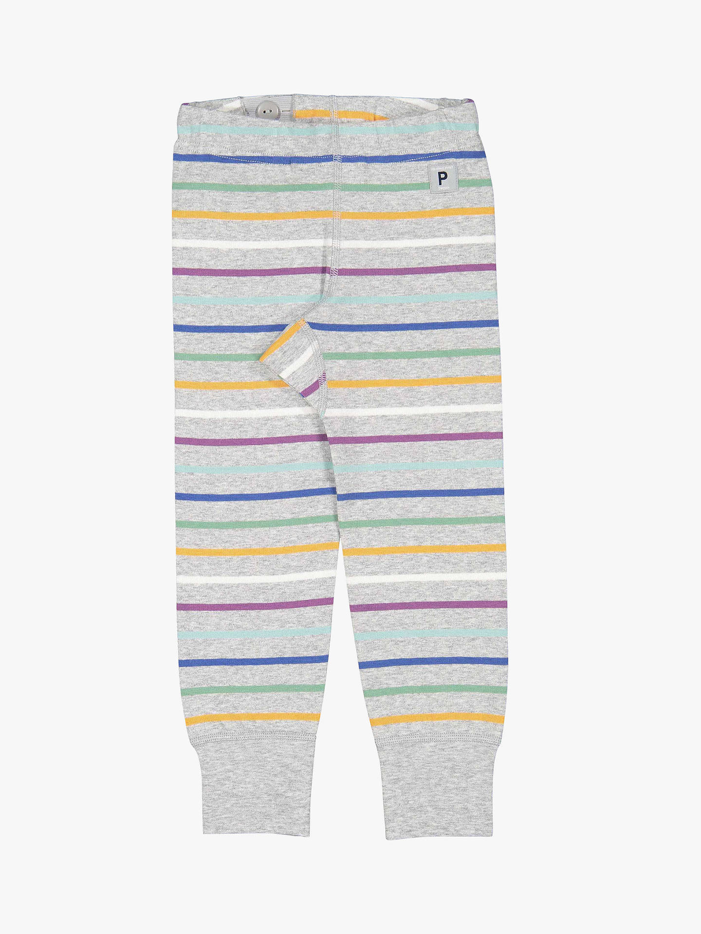 2fd2a03b5ca453 Buy Polarn O. Pyret Children's Organic Cotton Stripe Leggings, Grey, 4-5