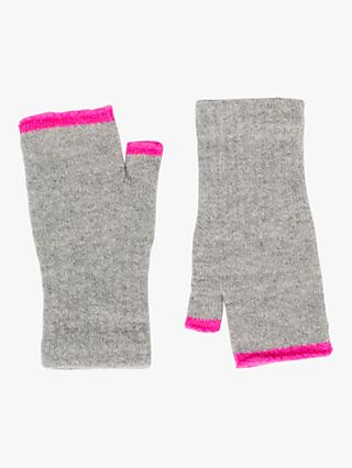 Jigsaw Children's Neon Pop Fingerless Gloves, Light Grey