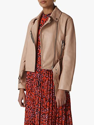 Whistles Adriana Leather Biker Jacket, Nude
