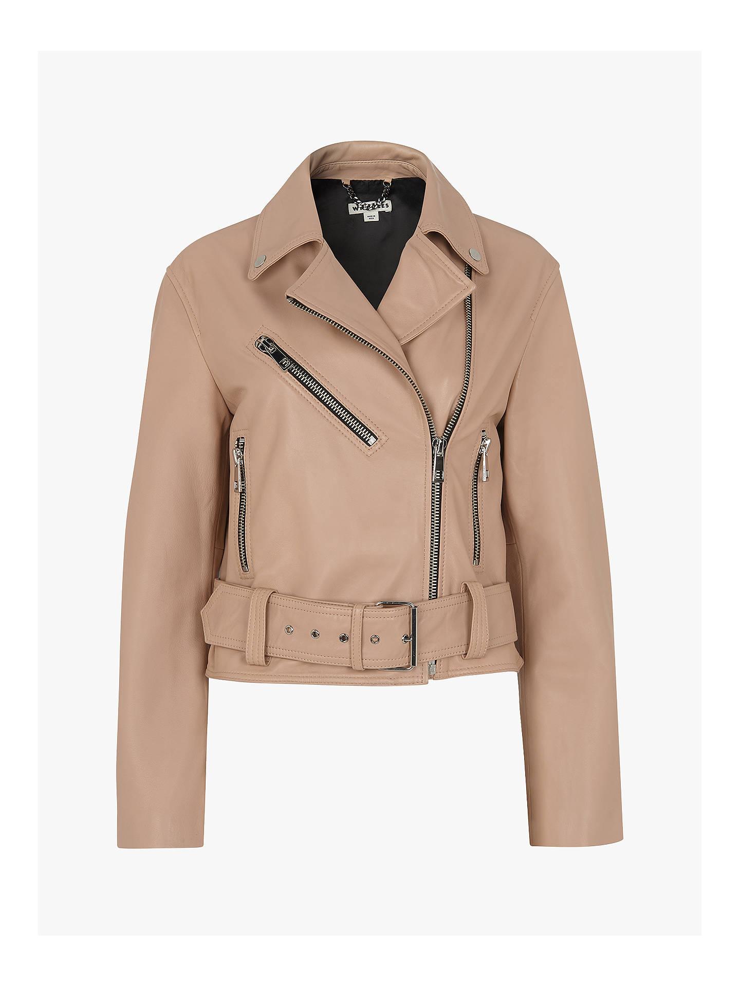 b98972377f ... Buy Whistles Adriana Leather Biker Jacket, Nude, 6 Online at  johnlewis.com