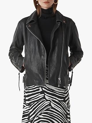 Whistles Lily Easy Tumbled Leather Biker Jacket, Black
