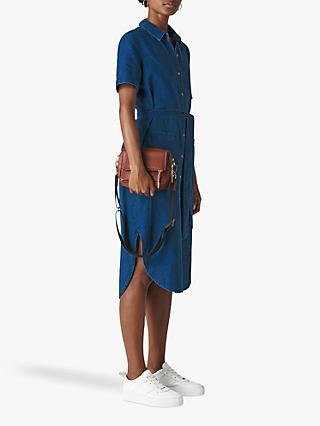 Whistles Montana Cotton Linen Shirt Dress, Denim
