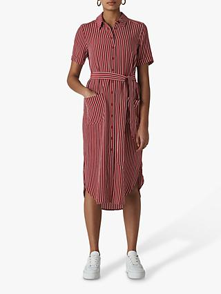 Whistles Montana Shirt Dress, Burgundy