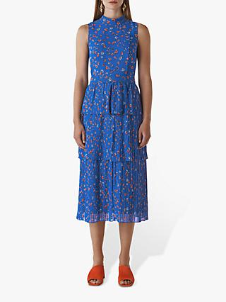 Whistles Ditsy Tiered Floral Midi Dress, Blue/Multi