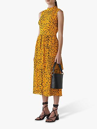 Whistles Pebble Print Tiered Midi Dress, Yellow