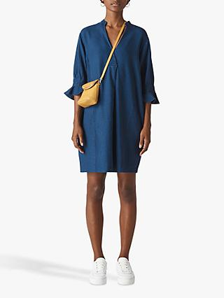Whistles Sonia Cotton Linen Frill Sleeve Dress, Denim