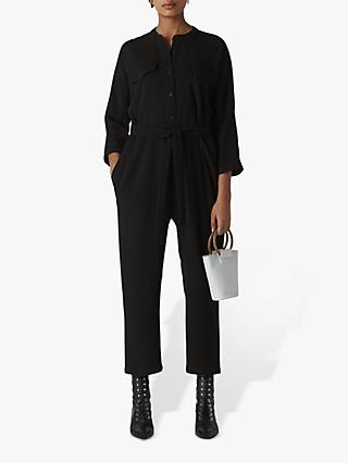 Whistles Utility Crepe Jumpsuit, Black