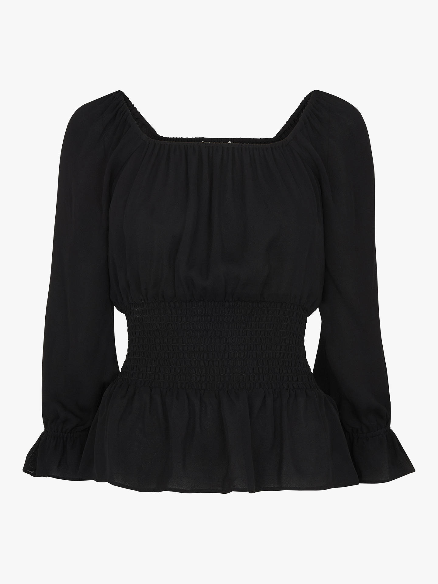 Whistles Adara Smocked Waist Top, Black