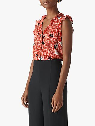 Whistles Confetti Floral Frill Detail Top, Red/Multi
