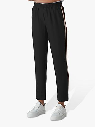 Whistles Elyse Side Stripe Trousers, Black/Multi