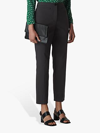 Whistles Megan Slim Leg Trousers, Black