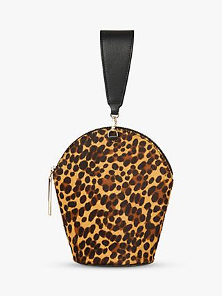Whistles Leonard Leopard Leather Wristlet Bag, Multi