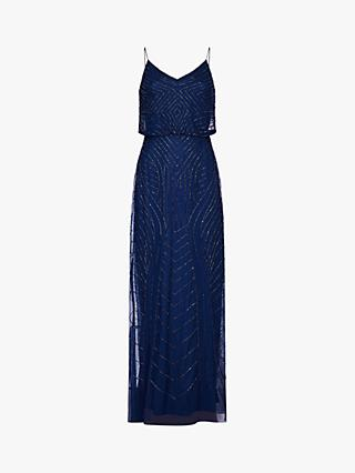 Adrianna Papell Blouson Beaded Maxi Dress, Deep Blue