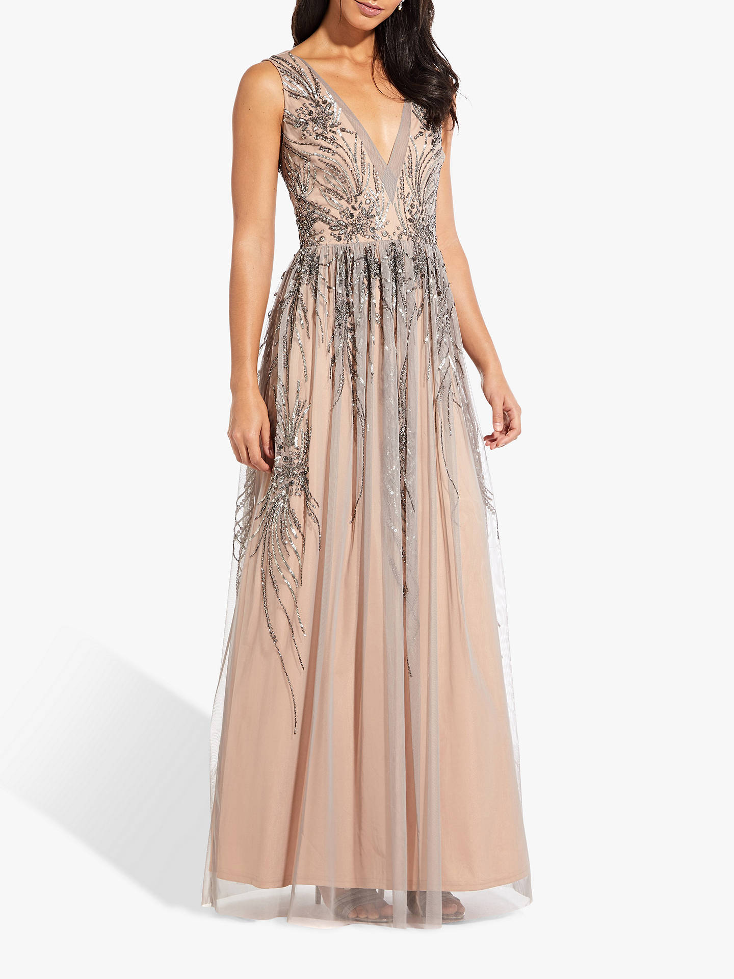 BuyAdrianna Papell Beaded Long Dress, Mercury/Nude, 6 Online at johnlewis.com