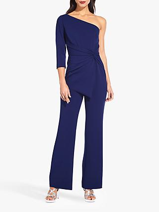 Adrianna Papell One Shoulder Knot Detail Jumpsuit, Light Navy