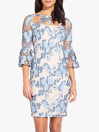 Adrianna Papell Floral Embroidered Dress, Blue Mist