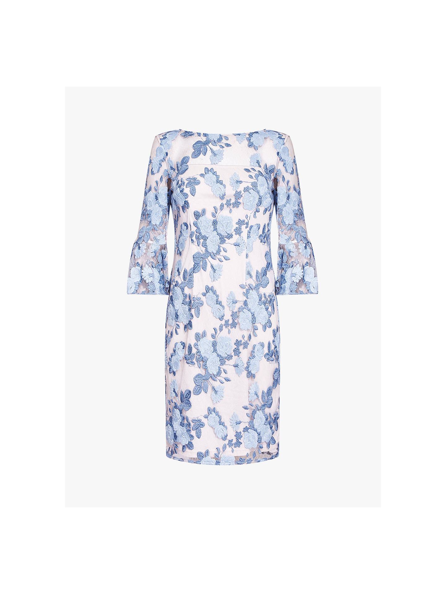 BuyAdrianna Papell Floral Embroidered Dress, Blue Mist, 16 Online at johnlewis.com