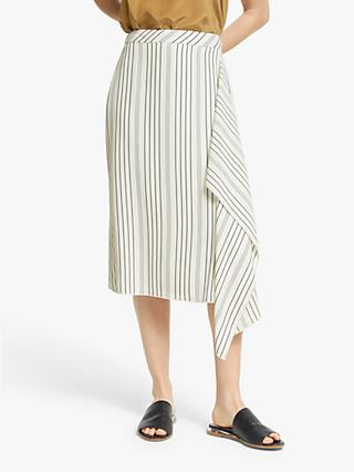 Modern Rarity Fluid Striped Skirt, White