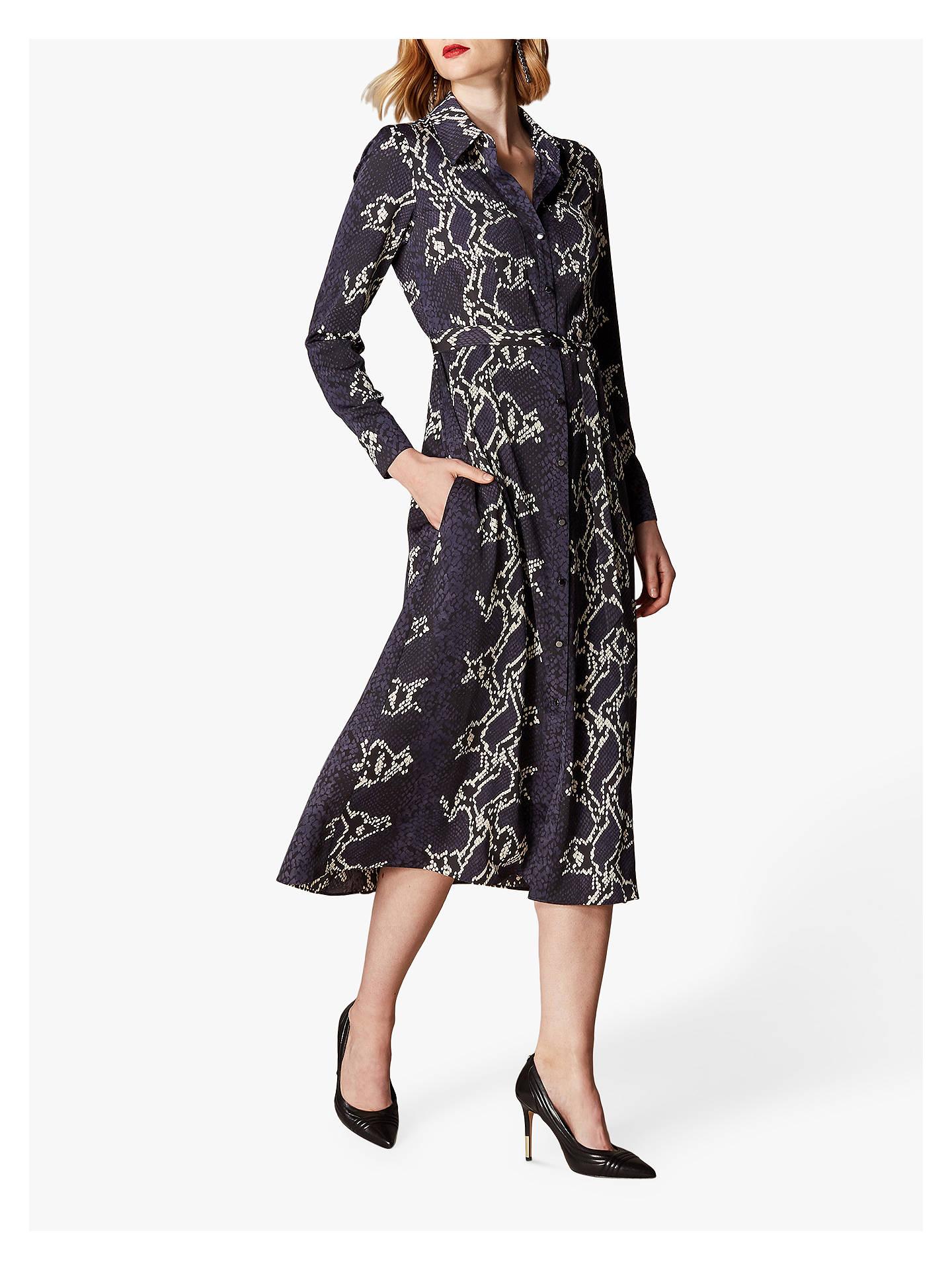 3ab55bf66f Buy Karen Millen Snake Print Midi Shirt Dress, Navy/Multi, 12 Online at ...
