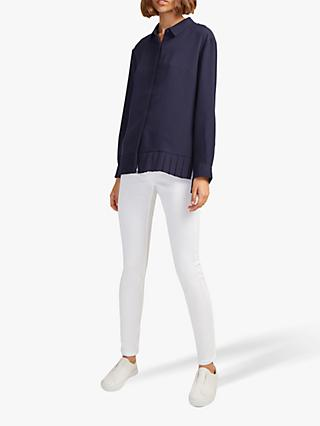 French Connection Crepe Pleat Hem Shirt, Utility Blue