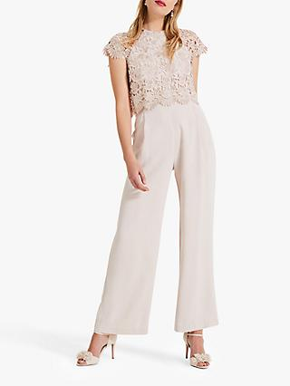 Phase Eight Katy Lace Jumpsuit, Cameo
