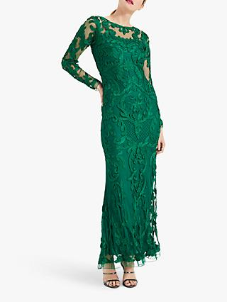 Phase Eight Nikita Lace Embroidered Maxi Dress, Emerald Green
