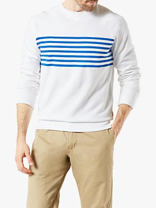 Dockers Stripe Crew Neck Sweatshirt, Paper White