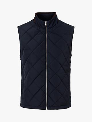 Hackett London Quilted Down Gilet, Navy