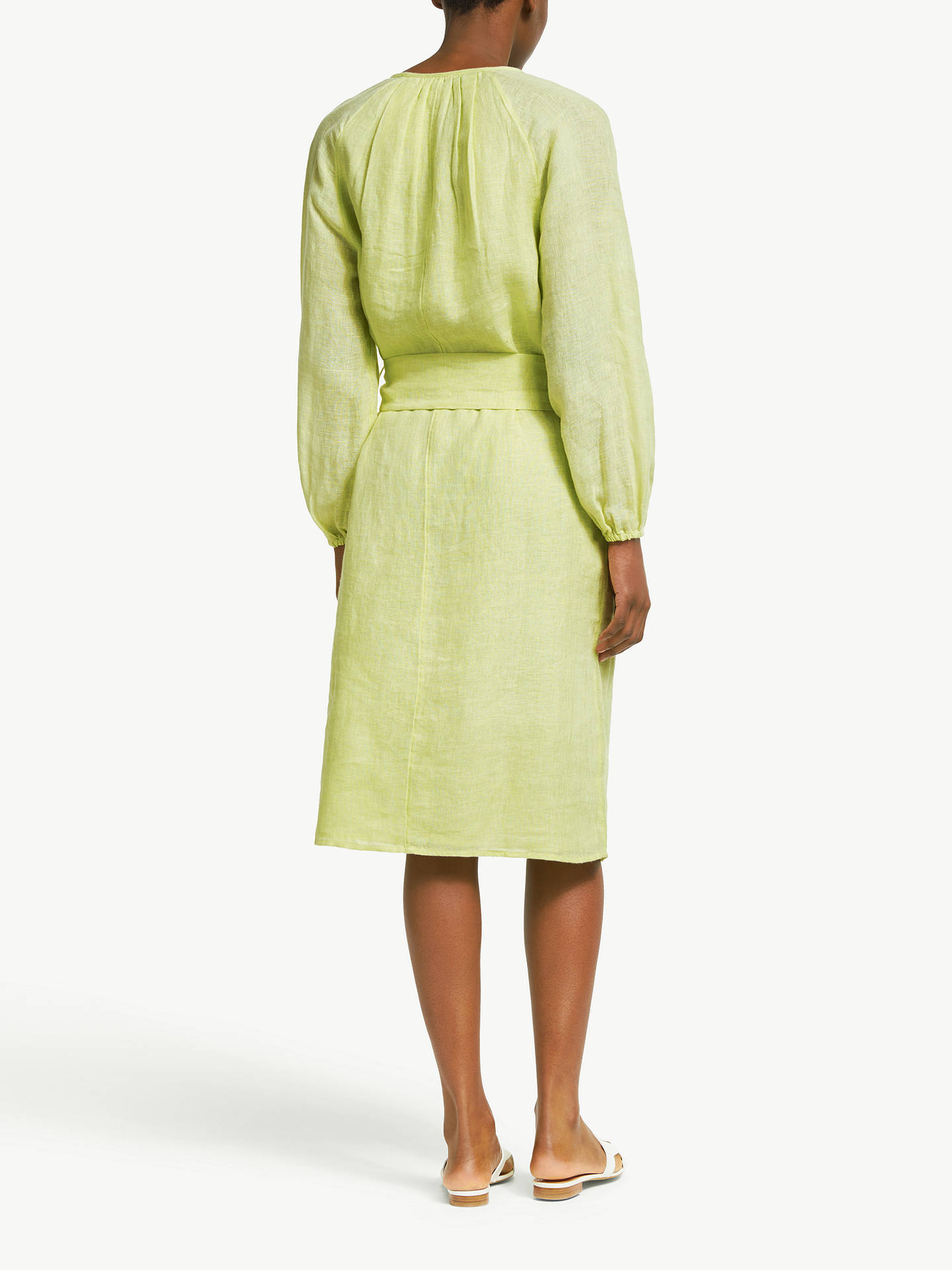 Buy John Lewis & Partners Linen Smock Dress, Citron, M Online at johnlewis.com