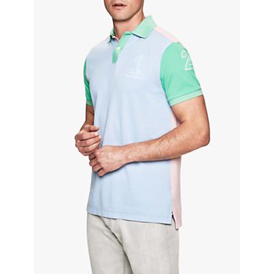 Hackett London Archive Short Sleeve Colour Block Polo Shirt, Sky/Multi