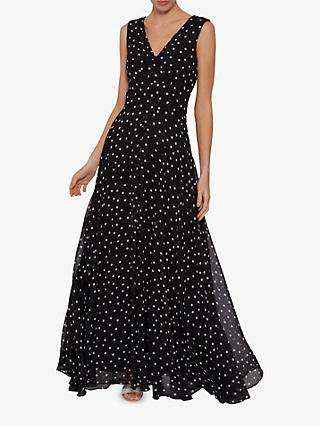 Gina Bacconi Calandra Spot Maxi Dress, Black/White