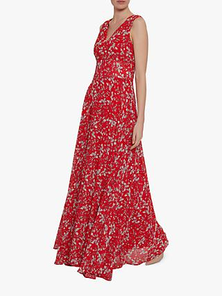 Gina Bacconi Santesa Floral Chiffon Maxi Dress, Red/White