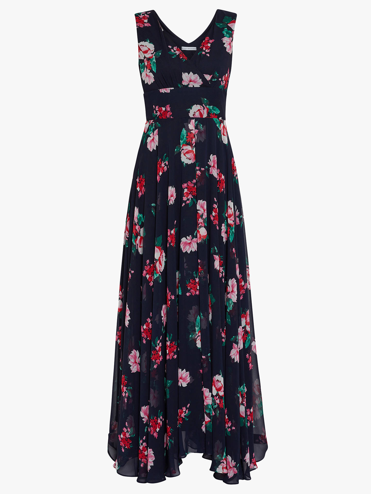 Buy Gina Bacconi Edana Floral Maxi Dress, Black/Multi, 16 Online at johnlewis.com