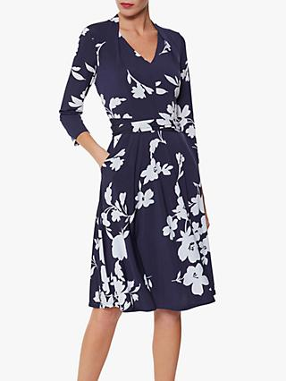 Gina Bacconi Madyn Floral Pleat Dress, Navy/Ivory