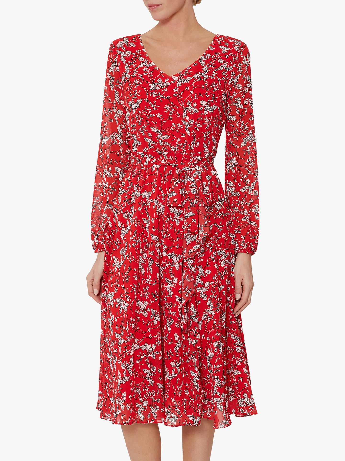 8edd1cf8f5f5 Buy Gina Bacconi Ridley Floral Belt Dress, Red/White, 16 Online at  johnlewis ...