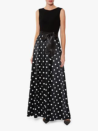 Gina Bacconi Ilythia Satin Maxi Dress, Black/White