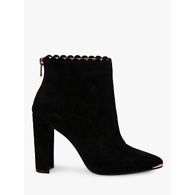 Ted Baker Ofelia High Block Heel Ankle Boots, Black Suede