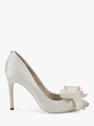 Ted Baker Skalet 2 Bow Stiletto Heel Court Shoes, Ivory Satin