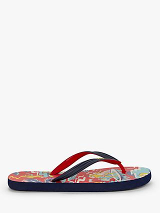 Polo Ralph Lauren Surfer Print Flip Flops, Red/Navy