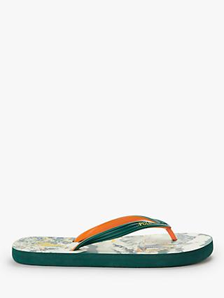 Polo Ralph Lauren Boat Print Flip Flops, Green/Orange