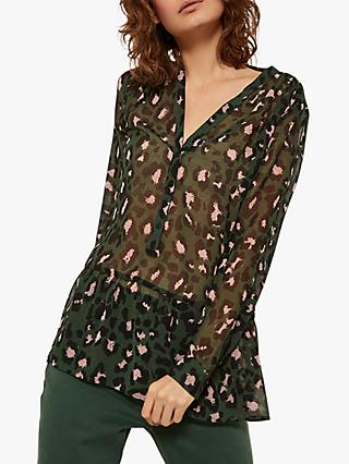Mint Velvet Stephanie Sheer Animal Print Blouse, Multi